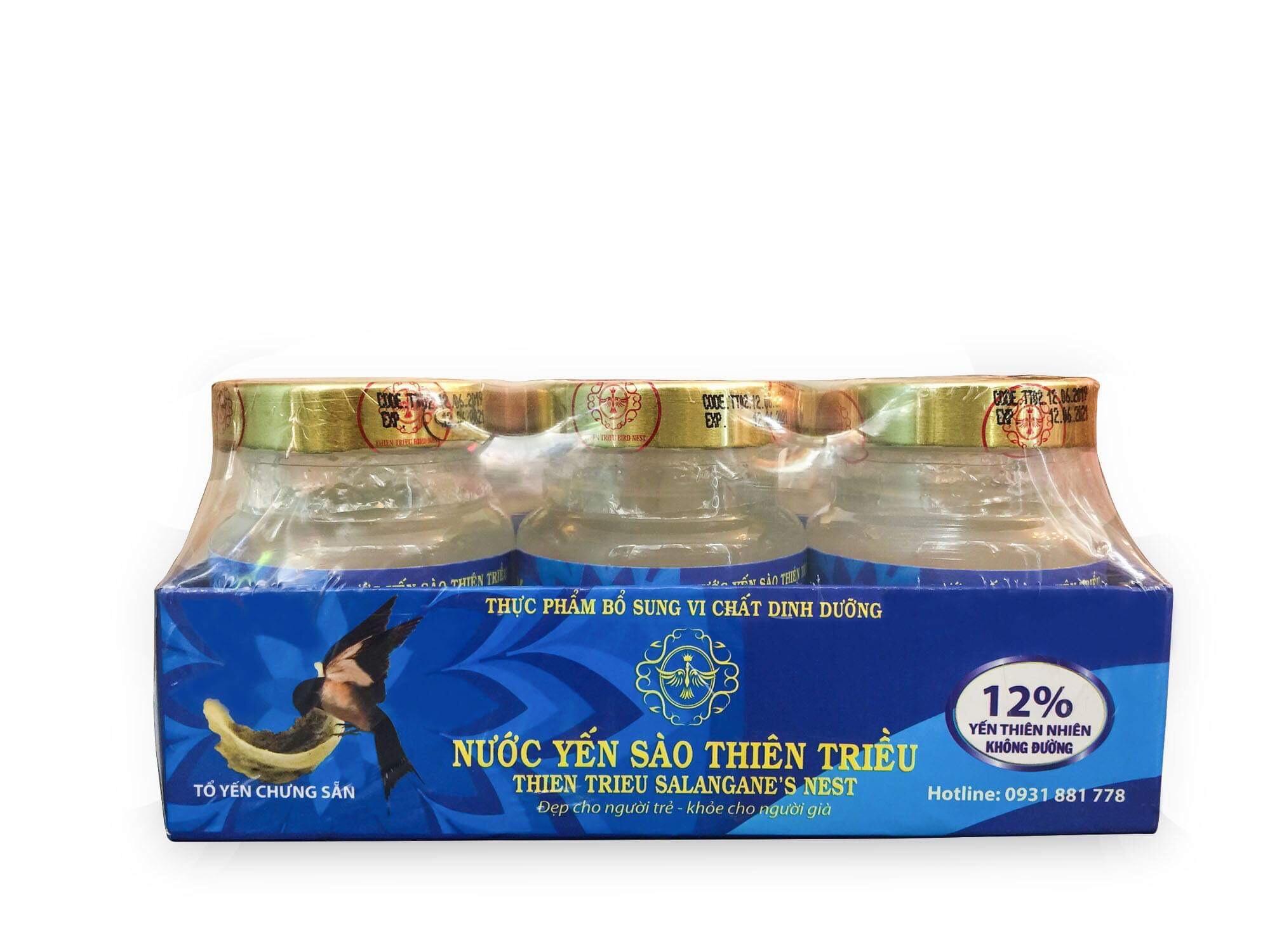 Lốc 8 hũ nước yến sào cao cấp Thiên Triều (không đường) 70ml/hũ